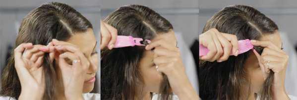 Надевание пряди волос на крючок