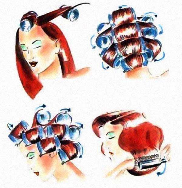 Расположение бигуди на голове