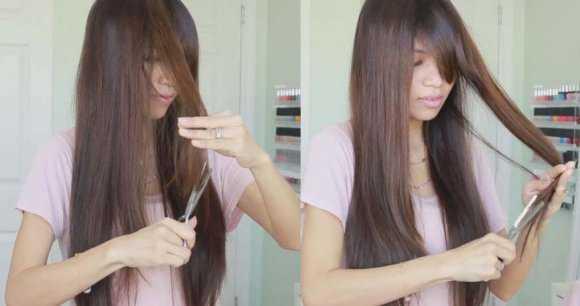 Обрабатываем пряди филировочными ножницами