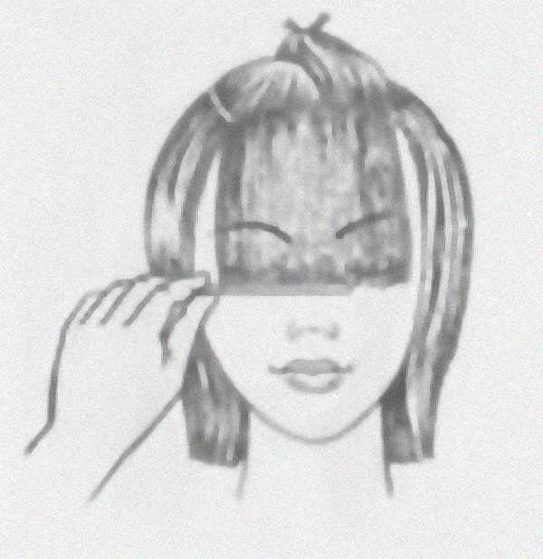 Челка с волосами одной длины: шаг 1
