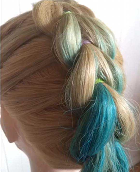 Прическа коса из хвостиков на резинках