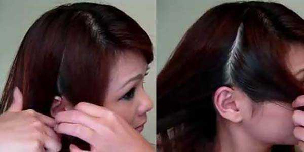 Прическа с косой: шаг 1