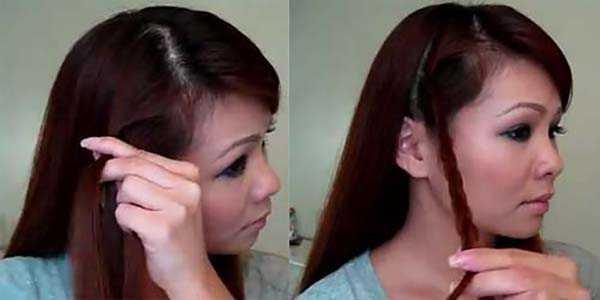 Прическа с косой: шаг 2