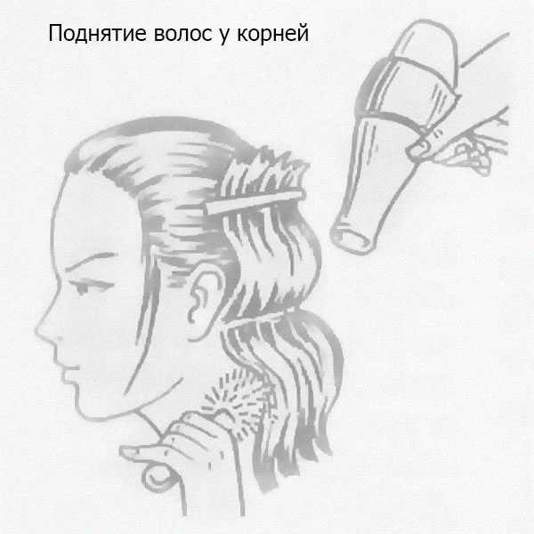 Поднятие волос у корней феном
